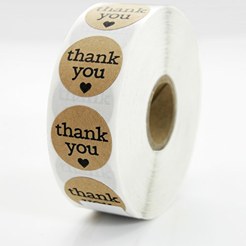 Premium Thank You Sticker Roll By TotalPack - 1000 Round 1 Inch Self-Adhesive Stickers Pack - Great For Stationaries, Gift Bags, Party Favors, Bridal Showers, And More! - Kraft Paper (Stationary Stickers)