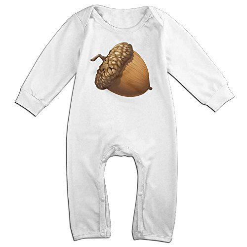 Noogra Nuts Long Sleeve Outfits Jumpsuit For 0-24 Months White 6 M