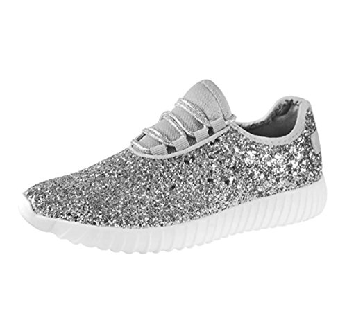 (SF Forever Link Remy-18 Women's Jogger Sneaker-Lightweight Glitter Quilted Lace Up Shoes New (7.5, Silver-18))