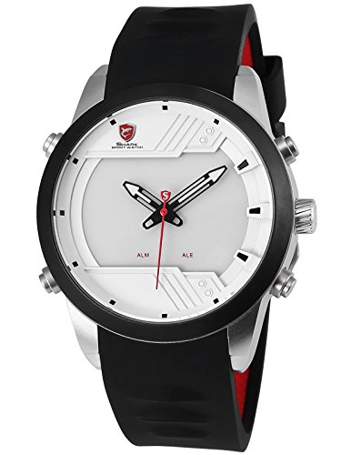 Sawback Angelshark 3rd Generation Sport Men's Wrist Watch Analog Digital LED Black Silicone Band Day/Date/Alarm SH541 (Shark School Watch)