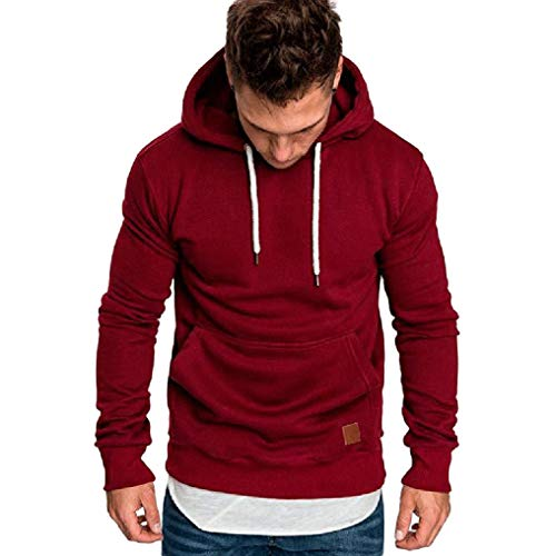 kaifongfu Hooded,Long-Sleeved Sweater Coat Mens Solid Color Tracksuits ()