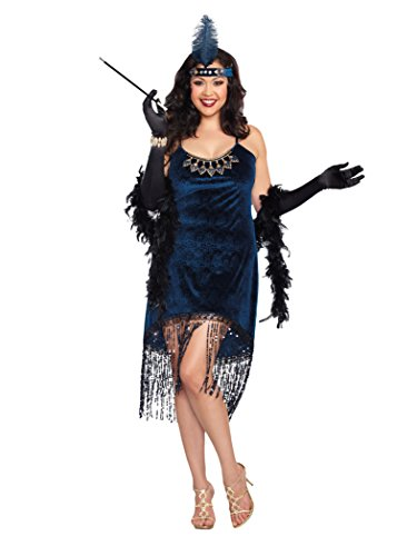 Dreamgirl Women's Plus-Size Downtown Doll Costume, Blue, 3X/4X
