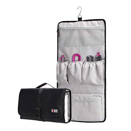 BUBM Waterproof Travel Storage Case Organizer for Dyson Airwrap, Pre-Styling Dryer, 4 Curling Barrels, 2 Smoothing Brushes and Volumizing Brush,Black, Black (JFQ-T01), Black