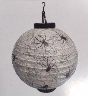 White and Black Spider Lighted Paper Lantern