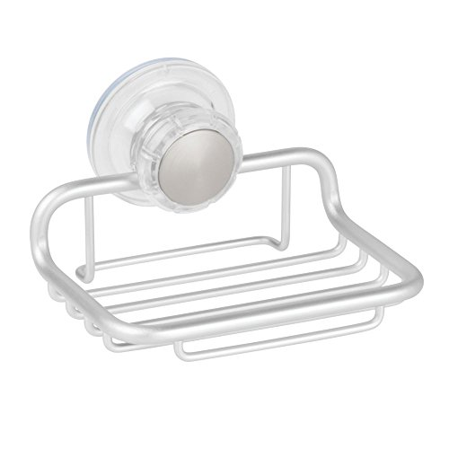 InterDesign Metro Rustproof Aluminum Turn-N-Lock Suction, Bar Soap Dish for Bathroom Shower - Silver (Soap Bathroom Shower)