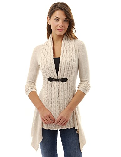 PattyBoutik Women Buckle Braid Front Cardigan (Beige Large)
