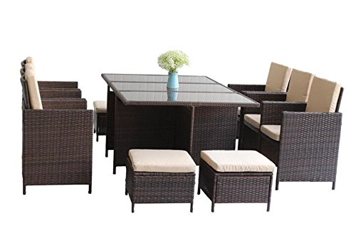 UNITED FLAME 11PCS WICKER RATTAN OUTDOOR INDOOR GARDEN PATIO CONSERVATORY BISTRO FURNITURE CUBE DINING SET-CUBE-11 RATTAN DINING SET/ONE TABLE+SIX CHAIRS+FOUR STOOLS. (Rattan Cushions Furniture Conservatory)