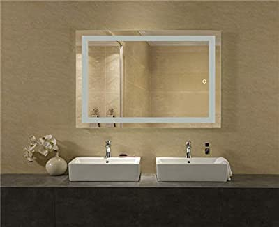 LEDMyplace LED Bathroom Lighted Mirror, Lighted Vanity Mirror Includes Defogger, Touch Switch Controls LED Light with On-Off and CCT Remembrance