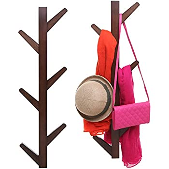 Amazon 40Hook Wall Mounted Natural Bamboo Wood Tree Branch New Branch Wall Coat Rack