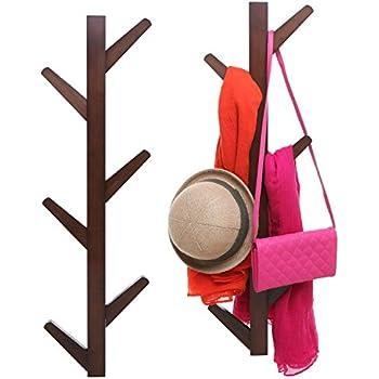 Amazon 40Hook Wall Mounted Natural Bamboo Wood Tree Branch New Branch Wall Coat Rack
