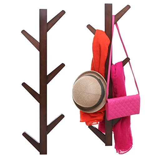 6-Hook Wall Mounted Natural Bamboo Wood Tree Branch Design Coat Rack Hanging Organizer, Set of 2, Brown - Mounted Tree