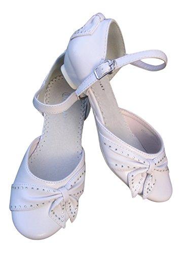 Kommunionschuhe meilleurs-chaussures de chaussures de communion pour fille motifs fleurs blanc