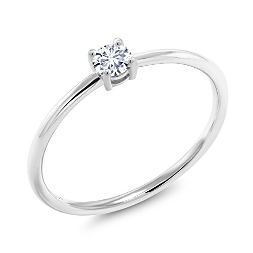 10K White Gold Solitaire Engagement Ring Timeless Brilliant IJK Round Created Moissanite 0.16ct DEW (Size 6) ()