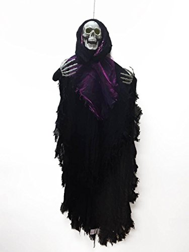 48 Inch Halloween Hanging Skull Decorations With led light Halloween Hanging Skeleton Halloween Hanging Ghost Prop Spooky for Yard Bar (Hanging Halloween Props)