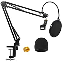 Microphone Arm Stand, H HOME-MART Heavy Duty Table Microphone Arm Stand with Dual Layered Mic Pop Filter Suspension Boom…