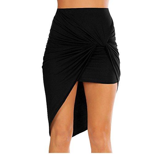 Simlu Womens Drape Up Stretchy Asymmetrical High Low Short Mini Bodycon Pencil Skirt