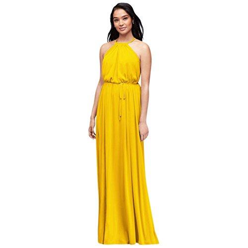 19b6648570 David s Bridal Soft Mesh Halter Bridesmaid Dress With Slim Sash Style  F19533