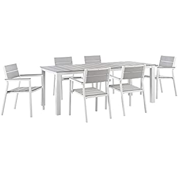Modway Maine 7 Piece Outdoor Patio Dining Set, White/Light Gray