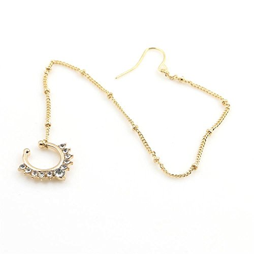 vcmart Fake Septum Ring Non Pierced Stud Nose to Ear Chain