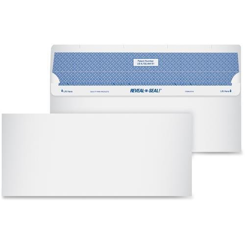 Quality Park 67218 Reveal-n-Seal Envelope - Security - #10 (9.50'' x 4.13'') - 24 lb - 500/Box - White by Quality Park
