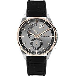 Pierre Petit Men's P-793B Le Mans Rose Gold IP Stainless Steel Luminous Black Anti Allergic Genuine Leather Big Date Watch