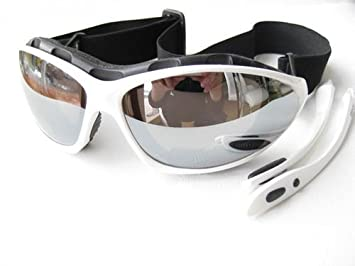 Ravs Gafas Deportivas - Cristales Plata Tipo Espejo - Gafas - Kitesurf - Ciclismo Gafas Gafas de Sol con Banda, Arco y Estuche Softbag