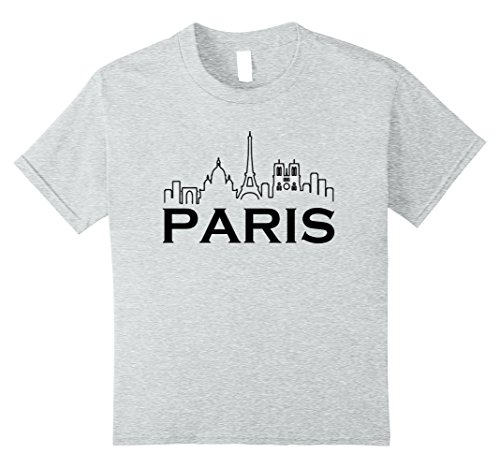 unisex-child Paris T-Shirt - French Souvenir T Shirt France 2017 10 Heather Grey