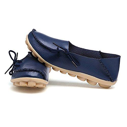 Kaleido New Size Version Scarpe Da Guida Da Donna In Pelle Di Vacchetta Casual Lace-up Fannulloni Scarpe Da Barca Blu Scuro