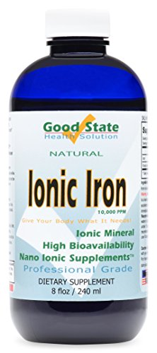 Good State | Ionic Iron | Natural | Nano Sized Mineral Technology | Professional Grade | Supports Healthy Heart, Skin & Bones | 48 Servings at 10 mg, plus 2 mg Fulvic Acid | 8 Fl oz Bottle