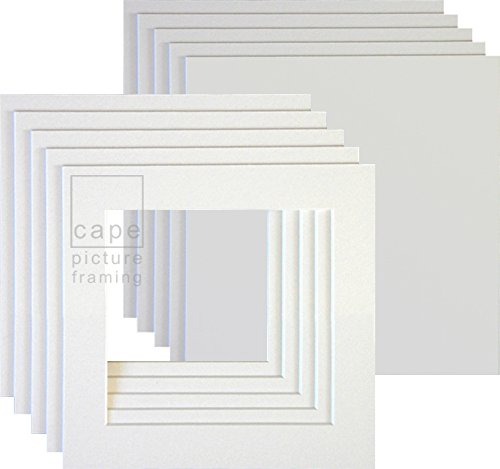 11 x 11 to fit 8 x 8 Pack of 5 Picture Mounts with Backs Bright White
