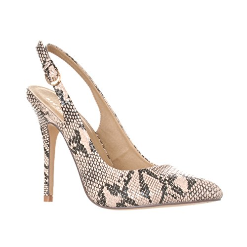 Riverberry Women's Lucy Pointed-Toe, Sling Back Pump Stiletto Heels, Beige Python, 9