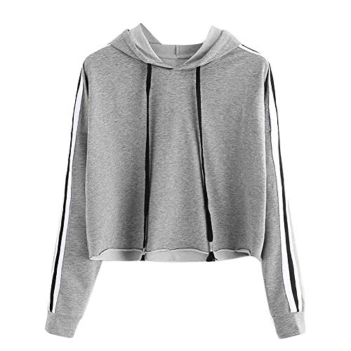 HGWXX7 Women Sweatshirt Casual Striped Long Sleeve Jumper Hooded Pullover Crop Tops Shirt Blouse