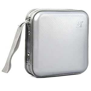 DIGIFLEX Caja de protección dura/estuche duro de transporte y almacenaje para 40 CDs, DVDs y discos de ordenador de color plata