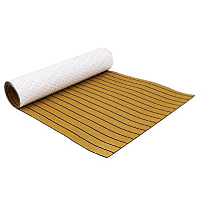 Mophorn 90.5 X 35 Inch EVA Foam Faux Teak Decking Sheet Non-Slippery Self-Adhesion Decking Sheet for RV Swimming Pool Garden Boat Yacht Marine Flooring in Wet Dry Conditions (Gold with Black Lines)