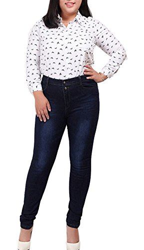 Women's High Waist Butt Lift Stretch Pull-On Skinny Jean Slim Denim Jegging Blue