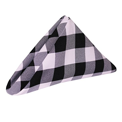 Ultimate Textile (5 Dozen) 20 x 20-Inch Polyester Checkered Cloth Dinner Napkins - for Picnic, Outdoor or Indoor Party use, Black and White by Ultimate Textile