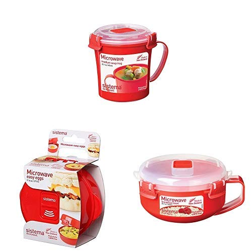 Sistema Microwave Essentials Set with Soup Mug, Microwave Egg Cooker, and Breakfast Bowl