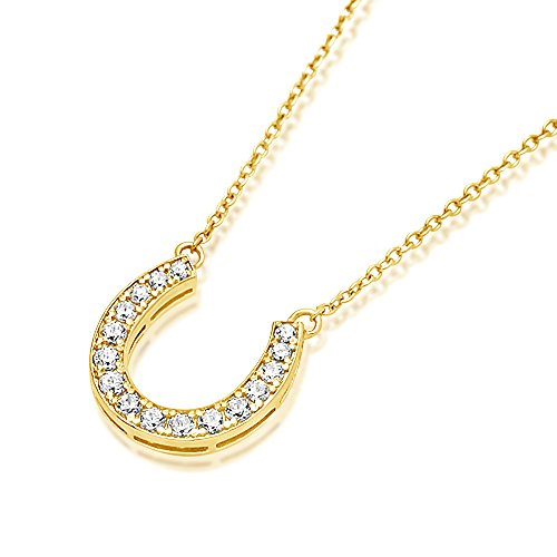 "DIAMONI Sterling Silver CZ 14K Rose, Yellow Gold Plated Horse Shoe Pendant Necklace, Chain 16~18"" Adjustable"