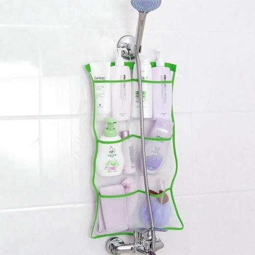 Quick Dry Hanging Bath Organizer with 6 Pockets, Hang on Shower Curtain Rod/Liner Hooks, Shower Organizer, Mesh Shower Organizer, Bathroom Accessories (Green) ()