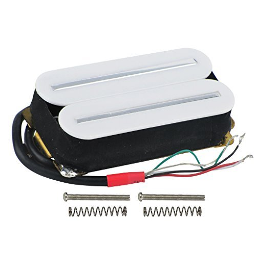 FLEOR High Output Pickup Dual Hot Rail Humbucker-Pickup Ceramic Electric Guitar Pickup Humbucker, White