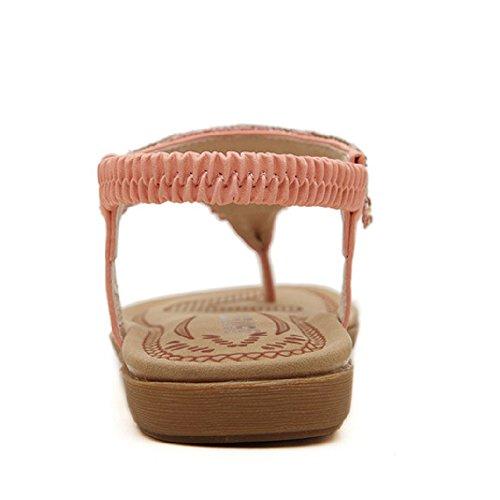 Sandali Btrada Per Le Donne Scarpe Estive Scarpe Sandali Della Boemia Punta Infradito Rosa