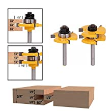 "Bestgle 2PCS 1/4-Inch Shank Tongue Groove Router Bit T-shape 3/4"" Stock Tenon Cutter Wood Panel Cabinet Door Floor Drill Bits 3 Teeth Milling Cutter Woodworking Tool"