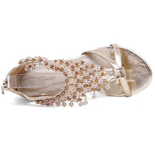NiSeng Mujer Sandalias Moda Brillante Colgante Con Cuentas Sandalias Elegante Cuñas Sandalias Bohemia Sandalias Dorado