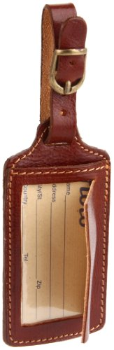 Floto Leather Luggage Tag,Vecchio Brown,one size