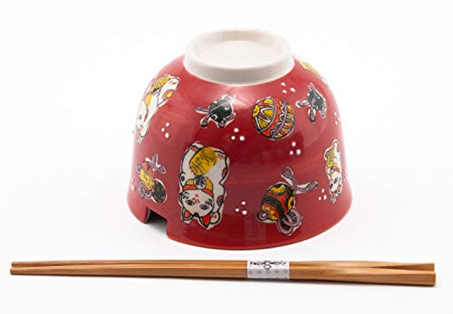 Hinomaru Collection Quality Japanese Multi Purpose Ramen Udon Noodle Rice Tayo Bowl with Chopsticks Gift Set 5 Inch Diameter (Lucky Cat Red)