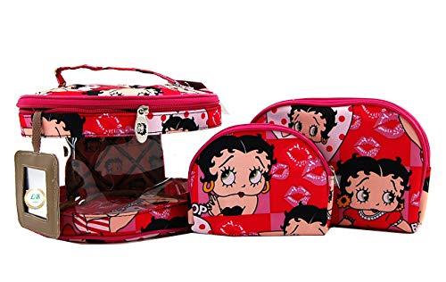 Betty Boop Makeup Bag 3 Pieces Set (Pink)