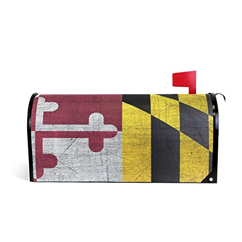 COOLACOLOR Farmhouse Magnetic Mailbox Cover Maryland Flag Greetings Mailbox Wrap Seasonal Colorful Pattern Houses Decorations 20.8