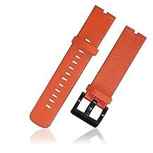 Nogis Leather Watch Band Wristband Watchband Strap for Motorola Moto 360 Moto360 Smart Watch Band Strap (Orange)