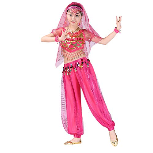 Hstore Children Girl Belly Dance Halloween Carnival India Dance Costume Outfit Accessories Set Hot Pink -
