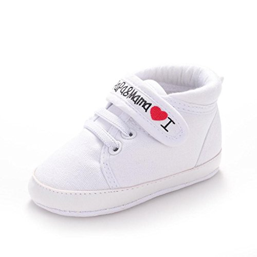Creazrise Baby Infant Kid Boy Girl Soft Sole Canvas Sneaker Toddler Shoes (S:0-6 Month, (Love White Soft Sole Shoes)